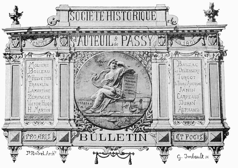 Frontispice du Bulletin de la Société Historique d'Auteuil et de Passy