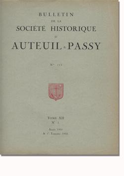 Bulletin n° 113 de la Société d'Histoire d'Auteuil et de Passy