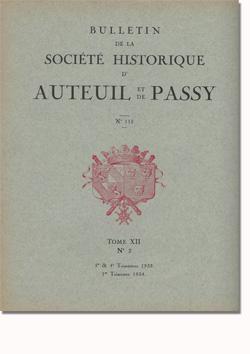 Bulletin n° 115 de la Société d'Histoire d'Auteuil et de Passy