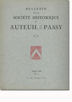 Bulletin n° 116 de la Société d'Histoire d'Auteuil et de Passy