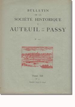 Bulletin n° 117 de la Société d'Histoire d'Auteuil et de Passy