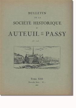 Bulletin n° 118 de la Société d'Histoire d'Auteuil et de Passy