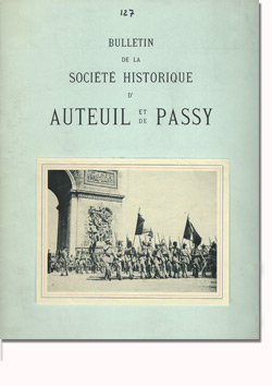 Bulletin n° 127 de la Société d'Histoire d'Auteuil et de Passy