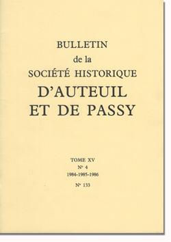 Bulletin n° 133 de la Société d'Histoire d'Auteuil et de Passy