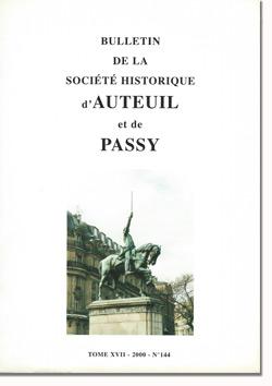 Bulletin n° 144 de la Société Historique d'Auteuil et de Passy