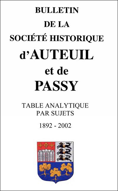 Table analytique des sujets traités dans les Bulletins depuis sa création en 1892 jusqu'à 2002 inclus
