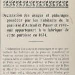 Déclaration des usages et pâturages possédés par les habitants de la paroisse d'Auteuil et Passy