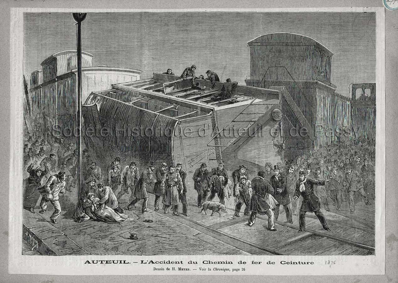 Auteuil - L'accident du Chemin de Fer de Ceinture (1876 ?).