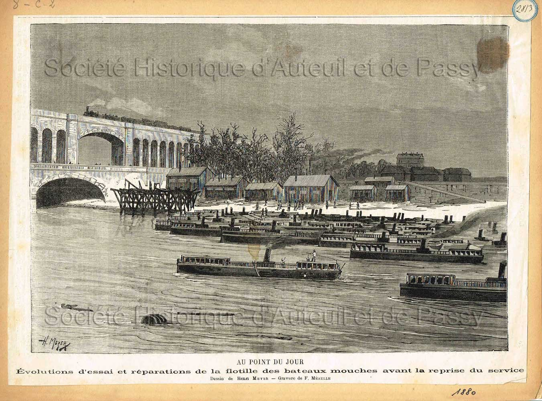 Au Point-du-Jour. Évolutions d'essai et réparations de la flotille des bateaux mouches avant la reprise du service (1880).