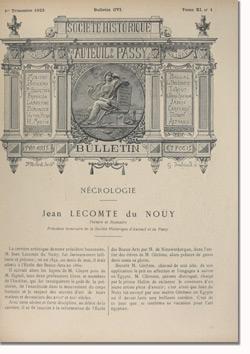 Bulletin n°106 de la Société d'Histoire d'Auteuil et de Passy