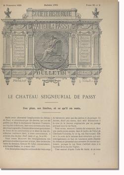 Bulletin n°107 de la Société d'Histoire d'Auteuil et de Passy