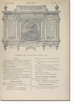 Bulletin n°108 de la Société d'Histoire d'Auteuil et de Passy