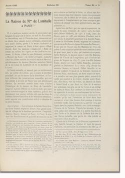 Bulletin n°110 de la Société d'Histoire d'Auteuil et de Passy