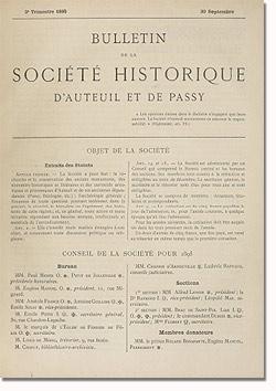Bulletin n° 13 de la Société d'Histoire d'Auteuil et de Passy