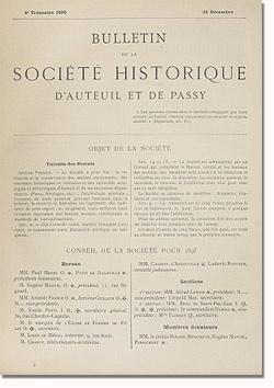 Bulletin n° 14 de la Société d'Histoire d'Auteuil et de Passy