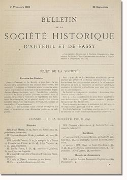 Bulletin n° 17 de la Société d'Histoire d'Auteuil et de Passy