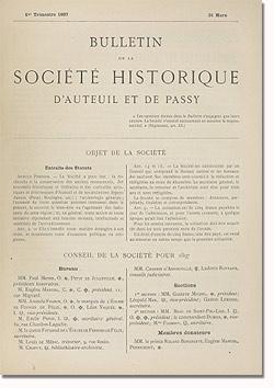 Bulletin n° 19 de la Société d'Histoire d'Auteuil et de Passy