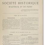 Bulletin n° 20 de la Société d'Histoire d'Auteuil et de Passy