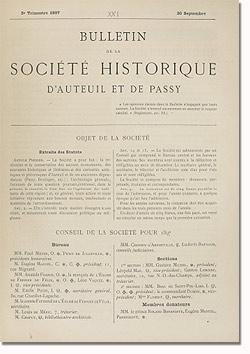 Bulletin n° 21 de la Société d'Histoire d'Auteuil et de Passy