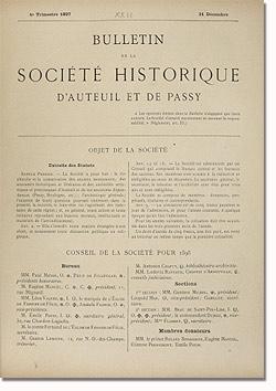 Bulletin n° 22 de la Société d'Histoire d'Auteuil et de Passy