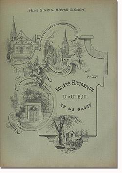Bulletin n° 25 de la Société d'Histoire d'Auteuil et de Passy