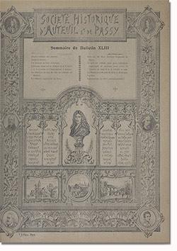 Bulletin n° 43 de la Société d'Histoire d'Auteuil et de Passy