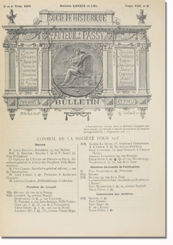 Bulletin n°89-90 de la Société d'Histoire d'Auteuil et de Passy