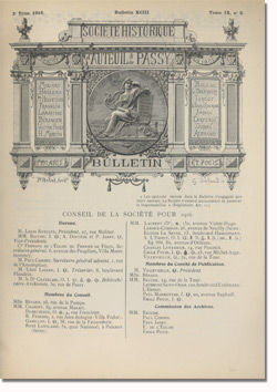 Bulletin n°93 de la Société d'Histoire d'Auteuil et de Passy