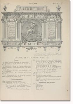 Bulletin n°95 de la Société d'Histoire d'Auteuil et de Passy