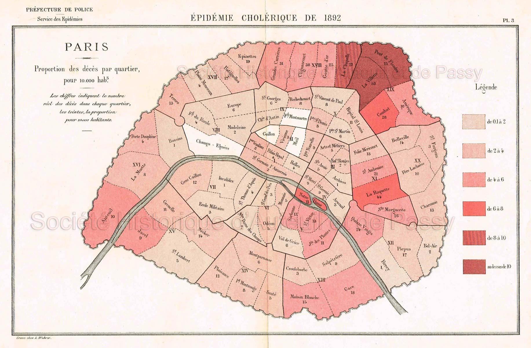 Paris. Proportion des décès par quartier, pour 10.000 habitants.