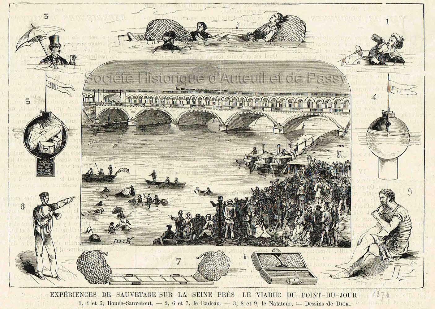 Expériences de sauvetage sur la Seine (1874).