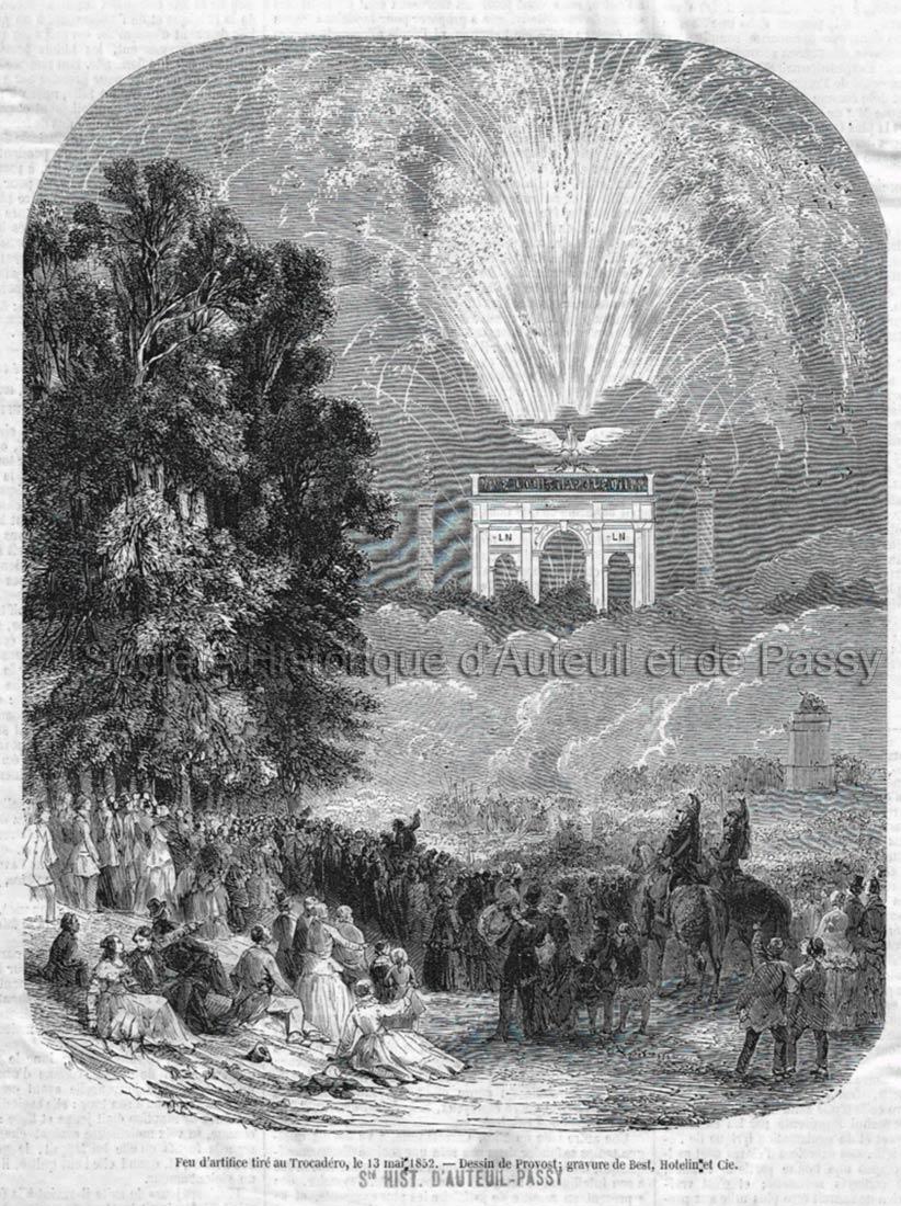 Feu d'artifice tiré au Trocadéro le 13 mai 1852.