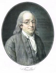 Benjamin FRANKLIN, philosophe, physicien et homme d'État américain, né à Boston en 1706, mort à Philadelphie en 1790.