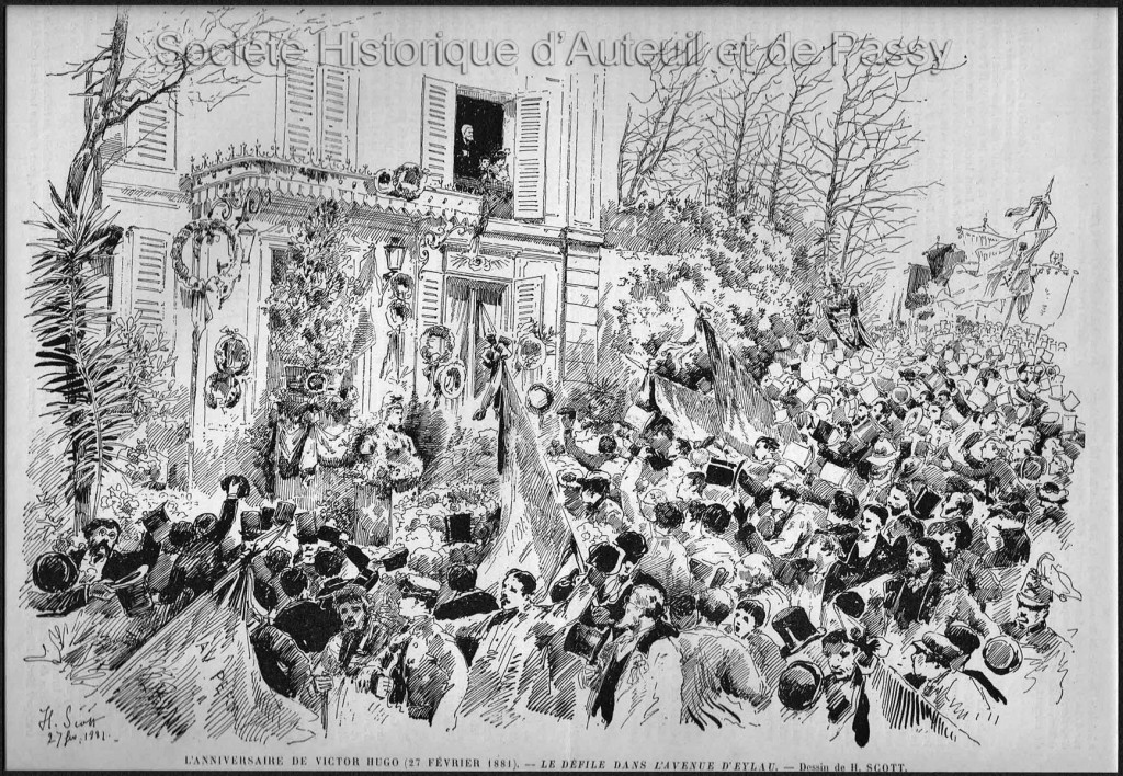 L'anniversaire de Victor Hugo (27 février 1881) - Le défilé dans l'avenue d'Eylau