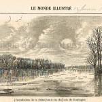 Inondation de la Seine vis-à-vis du Bois de Boulogne (Le Monde illustré - 12 janvier 1861)