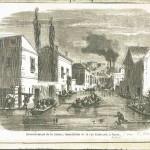 """Débordement de la Seine ; inondation de la rue Cuissard à Passy (mention barrée, remplacée par """"Auteuil"""")"""