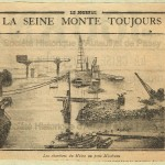 Le Journal. - La Seine monte toujours. Photographie des chantiers du Métro au pont Mirabeau.