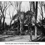 Fond du parc avec le Pavillon des Sources de Passy (vers 1820).