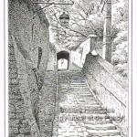 Le passage des Eaux rue Raynouard en 1882.