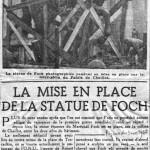 """La statue de Foch a été mise en place sur la butte de Chaillot (""""Le Figaro"""", 3 novembre 1948)."""