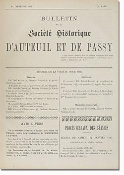 Bulletin n° 11 de la Société d'Histoire d'Auteuil et de Passy