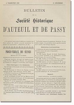 Bulletin n° 3 de la Société d'Histoire d'Auteuil et de Passy