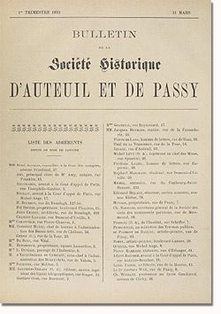 Bulletin n° 4 de la Société d'Histoire d'Auteuil et de Passy