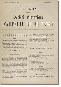 Bulletin n° 8 de la Société d'Histoire d'Auteuil et de Passy